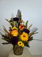Fall Leaf tin Fresh flower arrangement