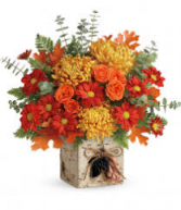 Fall Leaves Arrangement in birch cube