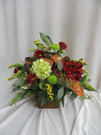Fall Leaves Cube Fresh Vased Arrangement