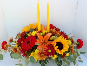 Fall Long & Low 2 Candle Centerpiece  in Troy, MI | ACCENT FLORIST