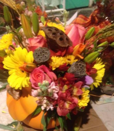 Fall Majesty pumpkin filled Flowers