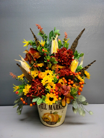 Fall Market with corn and feathers  Silk Arrangement (ARTIFICIAL)