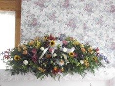 Fall Mixed Casket Spray Full Couch in Bowerston, OH | LADY OF THE LAKE FLORAL & GIFTS