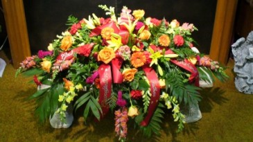 Fall Mixed Floral  Casket Spray