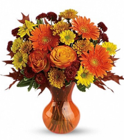 Fall mixed seasonal flowers Vase