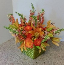 Fall Monocramonic arrangement high end flowers