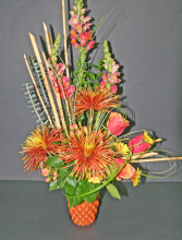 FALL MUMS & ROSES Tall Arrangement