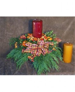 Fall Pillar Candle Centerpiece  in Culpeper, VA | RANDY'S FLOWERS BY ENDLESS CREATIONS