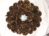 Fall Pinecone Wreath with Berries Artificial