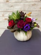 Elegant Jewel Tone Pumpkin Arrangement