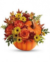 Fall Pumpkin Arrangement in a ceramic pumpkin