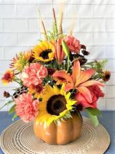 Fall Pumpkin Ceramic Pumpkin with Fall Flowers