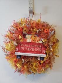 Fall pumpkin red truck wreath