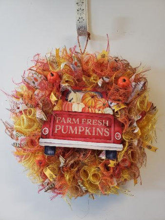 Fall pumpkin red truck wreath