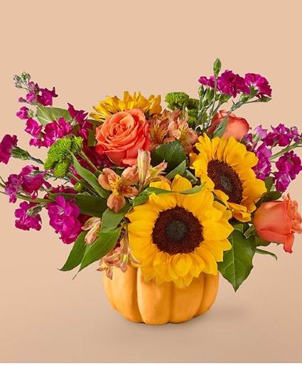 Fall Pumpkin with Sunflowers