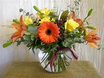 Fall Rose Bowl Great gift to send or centerpiece. Choose Price 3 and we'll add fresh cranberries in the bowl.