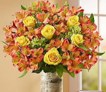 Fall Rose & Peruvian Lily Arrangement