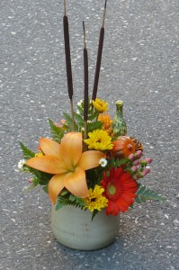 Rustic Mix of Lily, Mini Sunflowers, Orange Gerbera Daisies