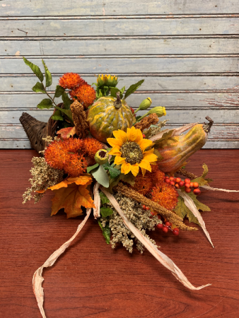Fall Silk Cornucopia Silk Arrangement