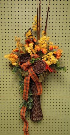 Fall Silk Door Hanger (Tall Vase) Silk Arrangement