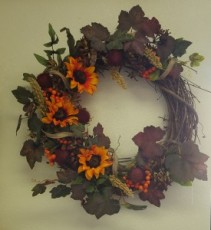 Fall silk wreath in yellow, orange and burgundy   Silk wreath