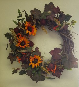 Fall silk wreath in yellow, orange and burgundy   Silk wreath