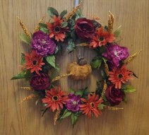 Fall silk wreath with pumpkin Silk wreath