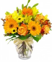 Spring Sunset Bouquet Vase Arrangement
