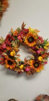 Fall sunflower wreath Silk decor