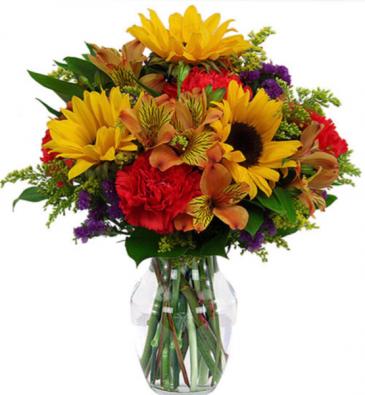 Fall Mini Sunflower Sunset  Fall vase