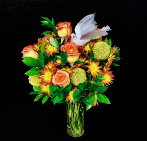 Fall Sympathy Floral Fall Design with High & Magic Roses in Plainview, TX | Kan Del's Floral, Candles & Gifts