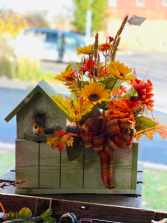 Fall themed silk arrangement birdhouse