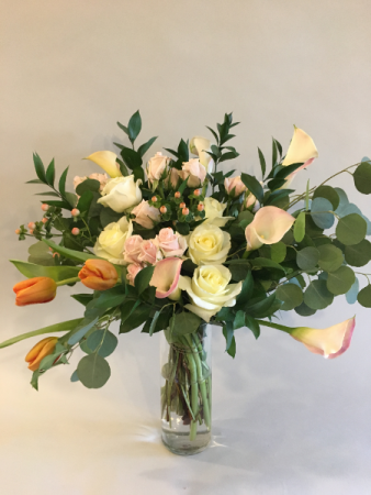 Tulips and Callas Vase arrangement