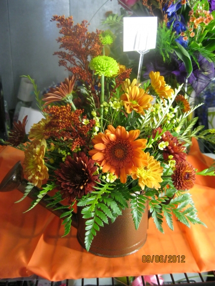 Fall Watering Can Fresh Floral Arrangement