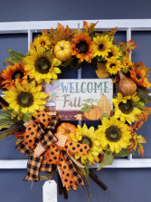 Fall welcome wreath Silk flower decor