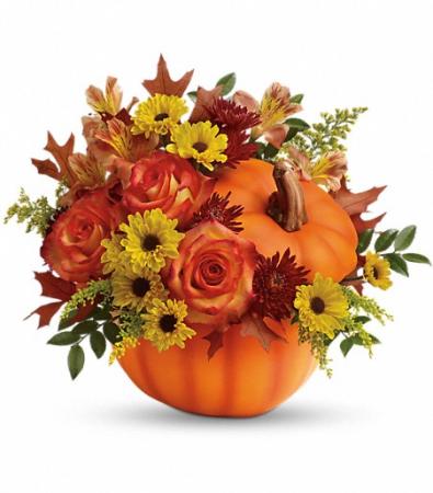 Fall Wishes Pumpkin Arrangement