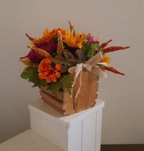Fall Wood Pumpkin  Silk arrangement
