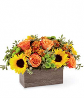 FALL WOODEN BOX ARRANGEMENT FALL/THANKSGIVING