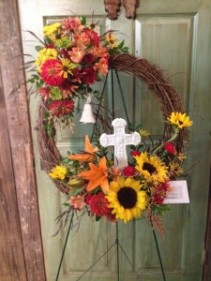 Grapevine Wreath, Fall with Cross & Bell Standing Spray