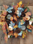 Fall Wreath With Ribbons Silk Flowers Arrangement