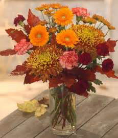 Falling Leaves Bright Gerbera daisy's & rich fall mums