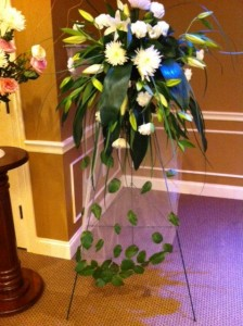 Falling Leaves Standing Spray Sympathy in Holland, MI | FLOWERS BY DESIGN ZEELAND FLORAL & LINCOLN VILLAGE