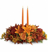 Family Gathering Centerpiece    T-169-1A Floral Centerpiece with Candles