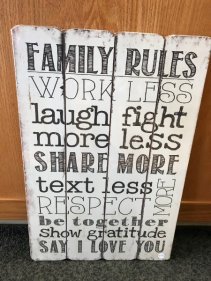 "Family Rules 16"" X 24"" Sign"
