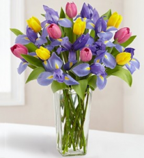 Fanciful Tulips & Iris Arrangement