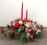 Fancy Christmas Twin Candle Fresh Floral Arrangement