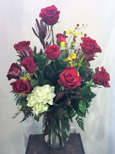 Fancy Dozen Rose Arrangement