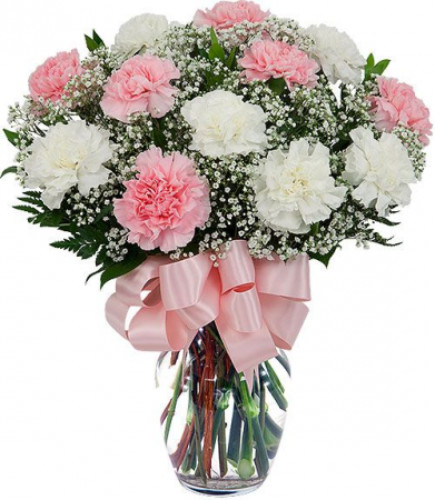 Fancy Pink and White Carnations Vase Arrangement