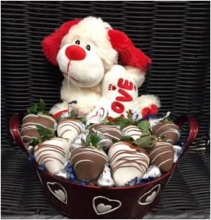C.)Fancy Plush Basket Chocolate covered Strawberries