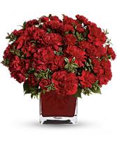 Fancy Red Carnation Vase Cube Vase Arrangement